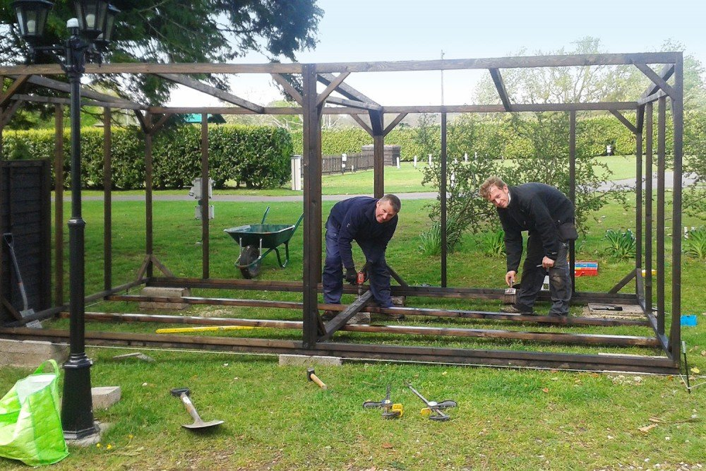 Cycle Hire from SLM, Keith and Matt building the new cycle shelter