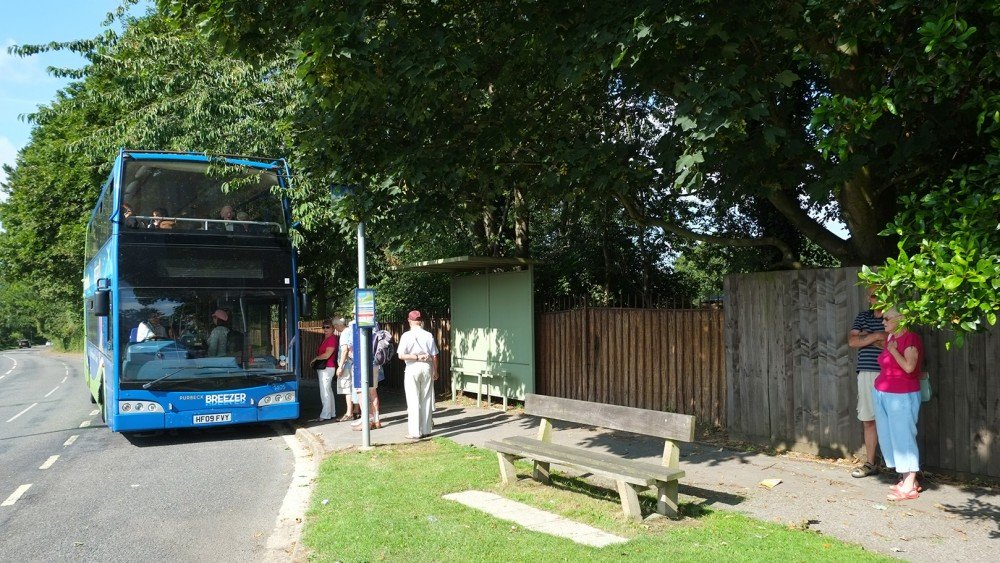 Bus stop at main gates South Lytchett Manor Caravan and Camping Park