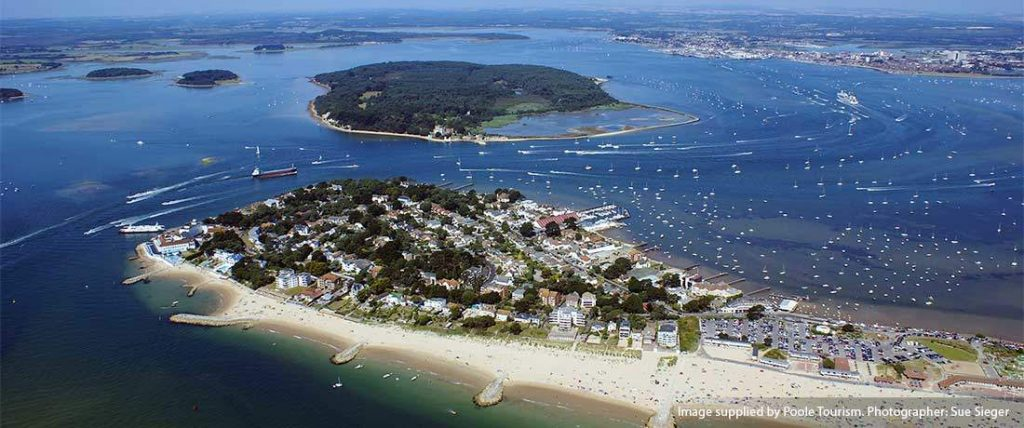 Sandbanks Beach and peninsula. One of the finest Dorset beaches. Image supplied by Poole Tourism.