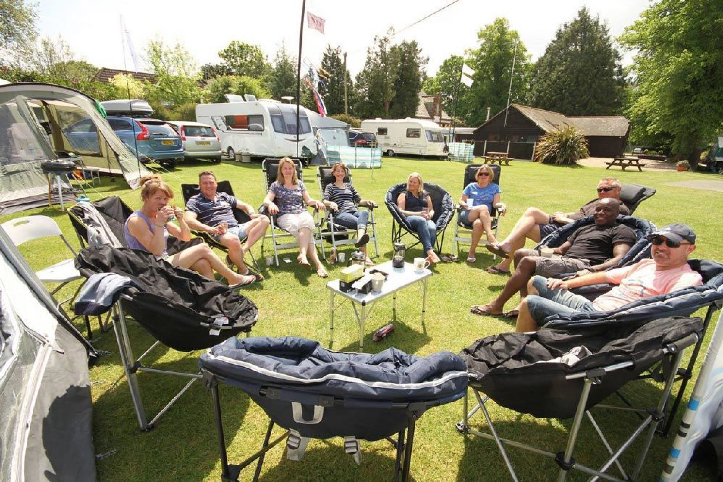 Rally campsite in Dorset. South Lytchett Manor is popular for hosting car rallies.