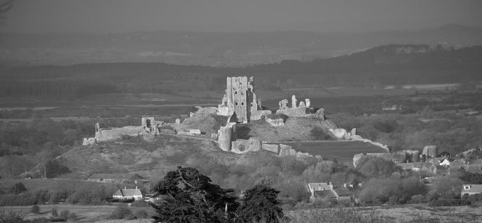 View of Corfe Castle from Scott Arms