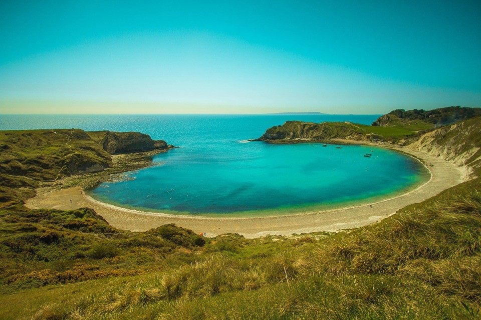 Lulworth Cove, one of the finest beaches in Dorset.