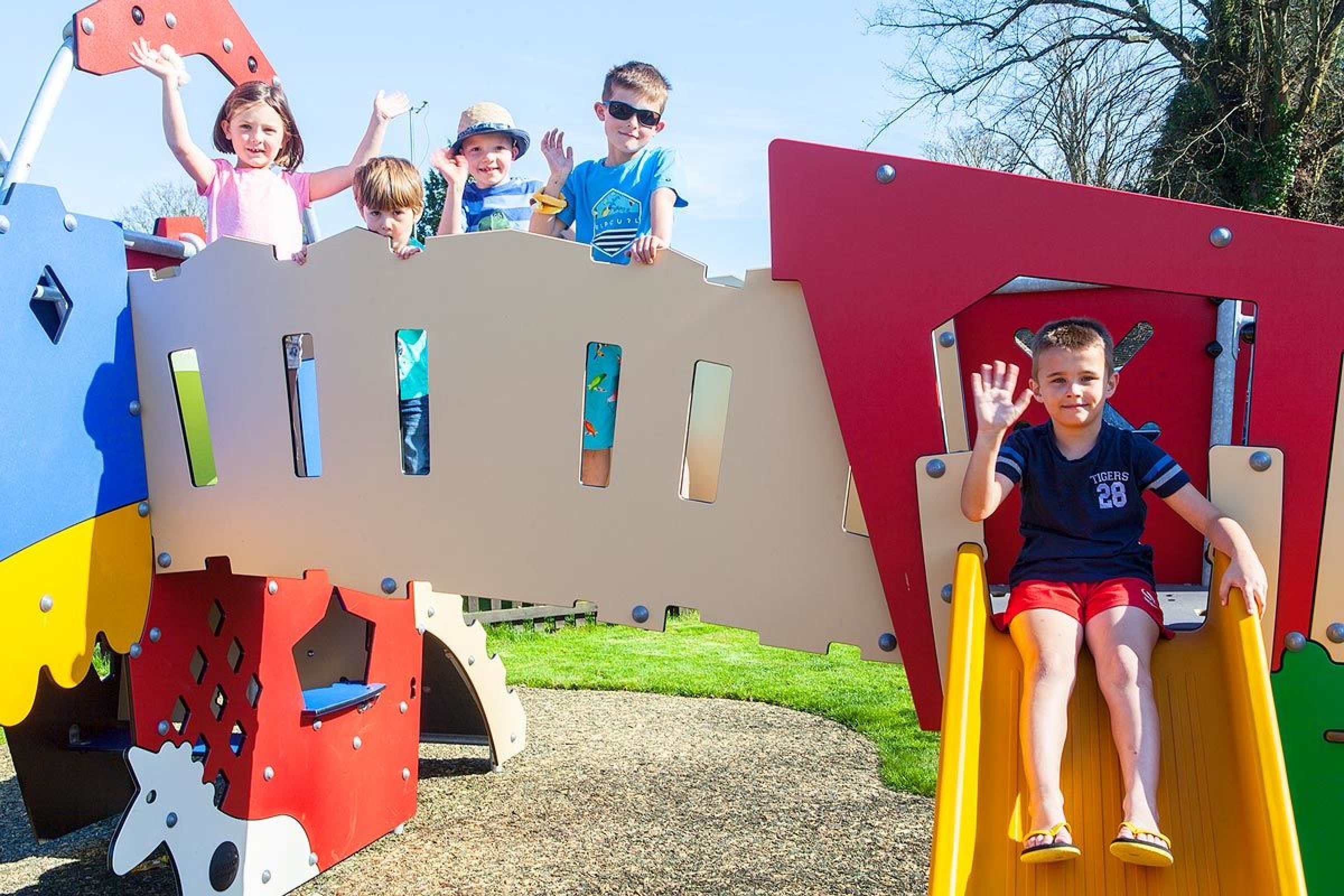 Children on the new play park at South Lytchett Manor.