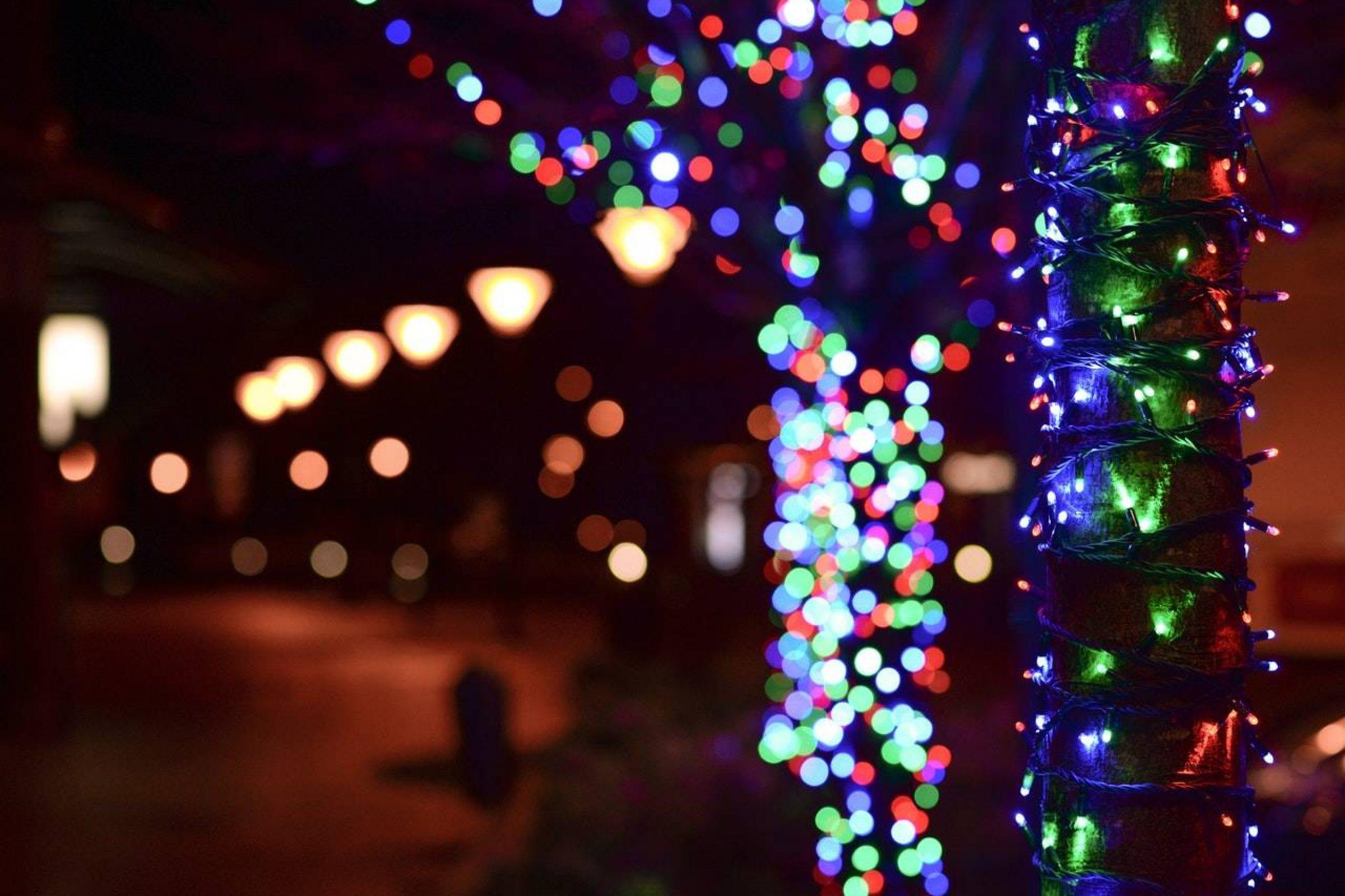 lights at a christmas market