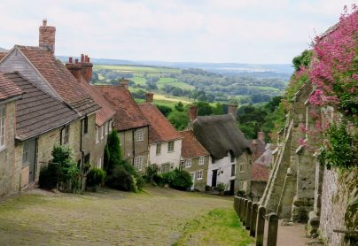 Romantic view from the top of Gold Hill in Shaftsbury
