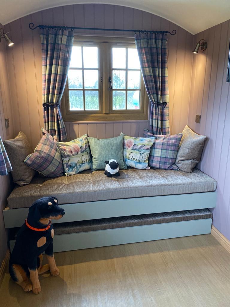 shepherd hut interior sofa