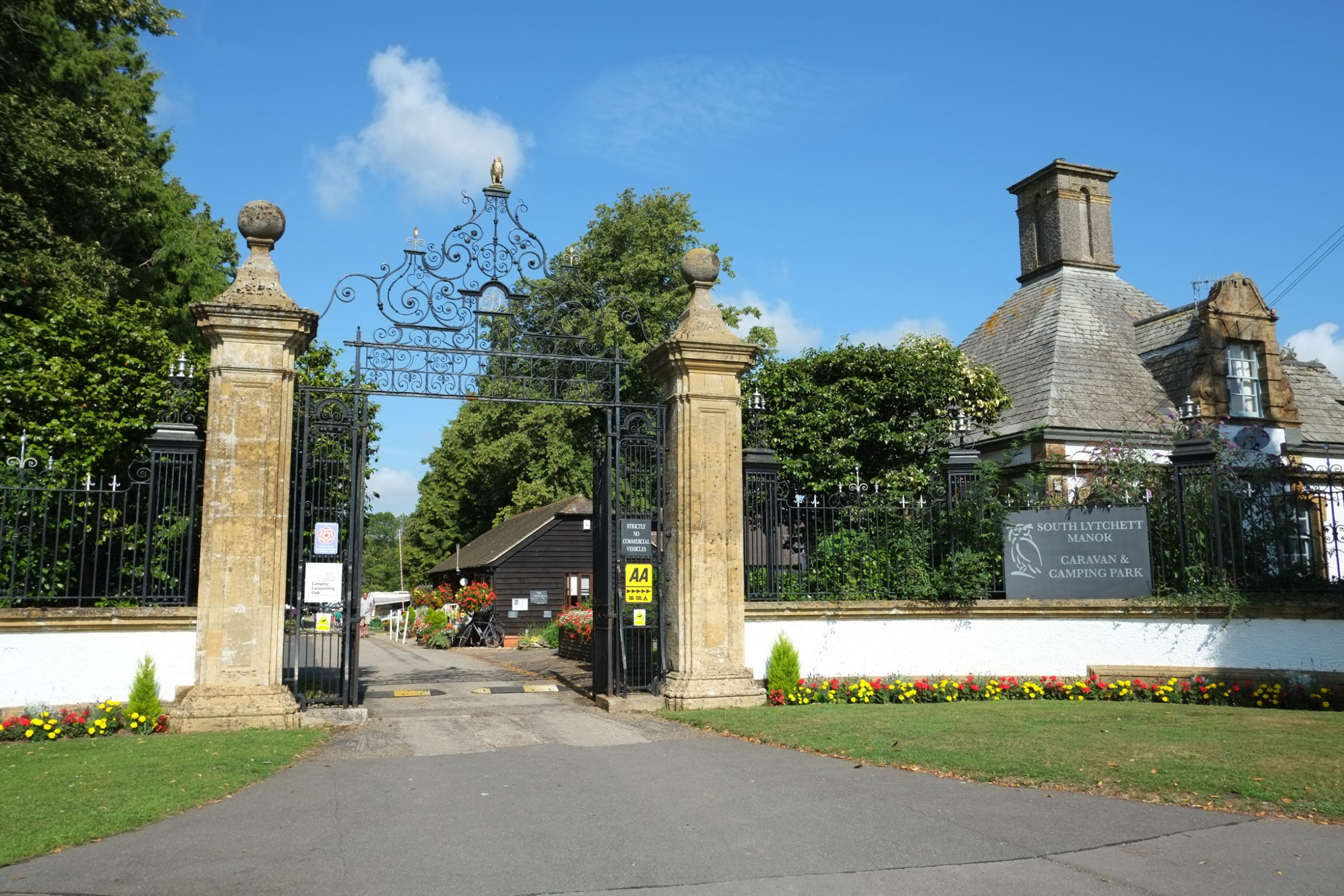 South Lytchett Manor front gates. 5 star camping in Dorset.