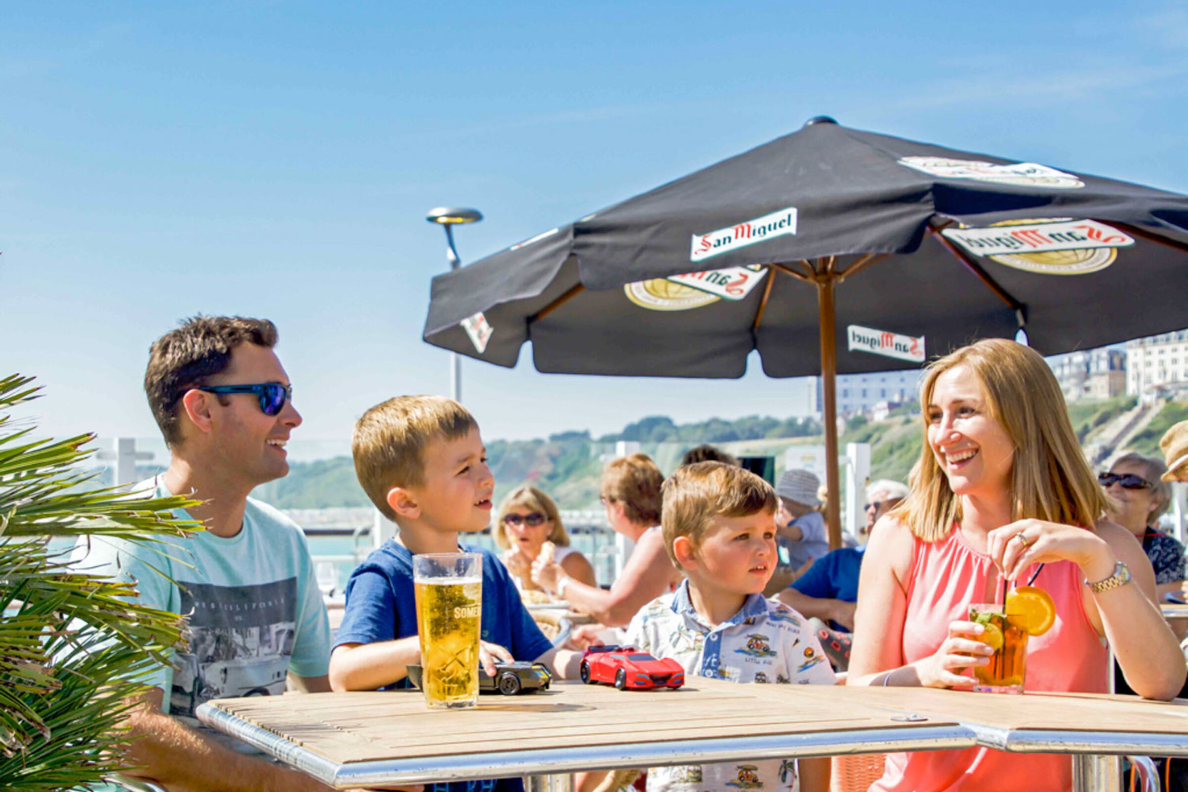family dining on the terrace at bournemouth pier