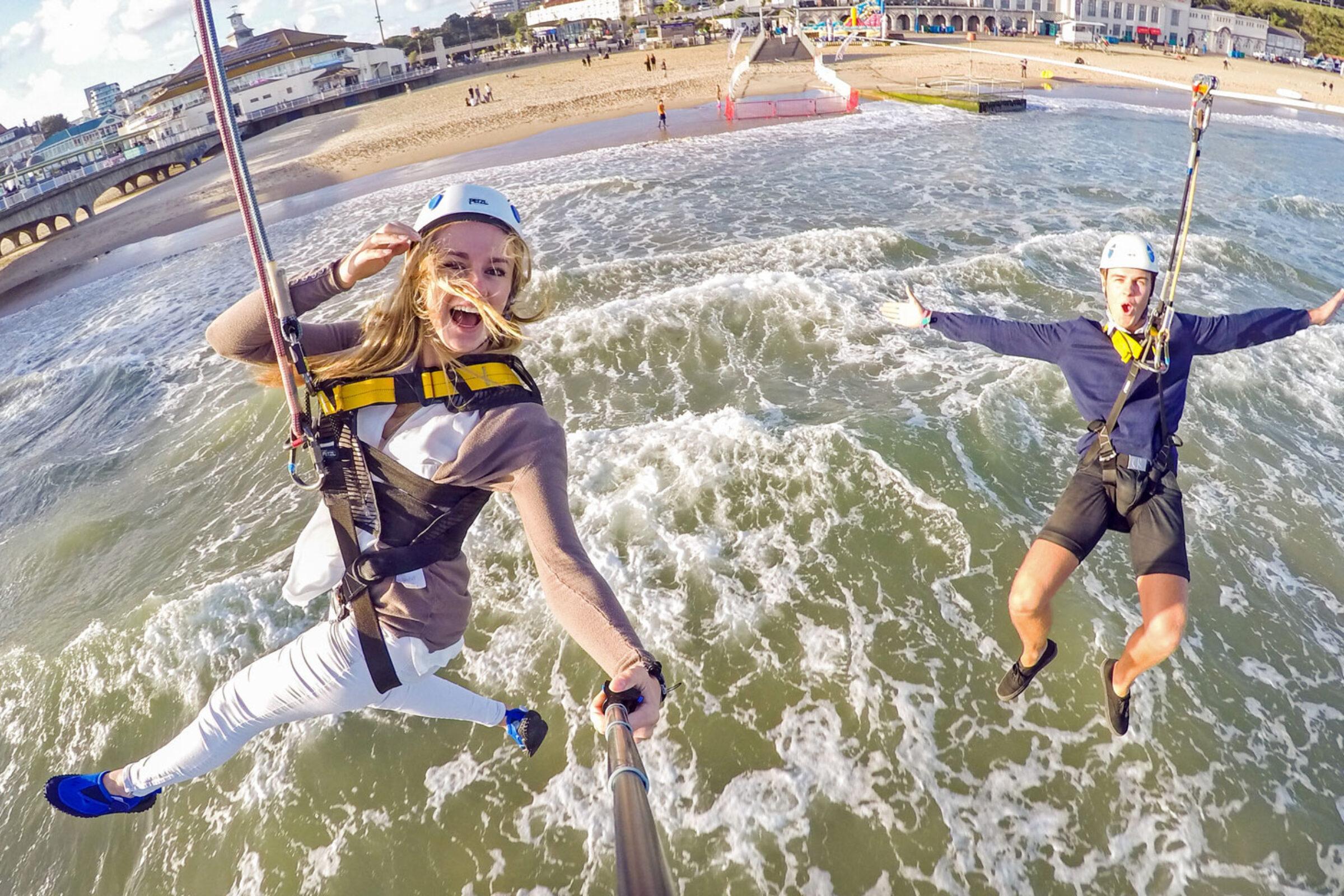 pier zip couple on bournemouth pier