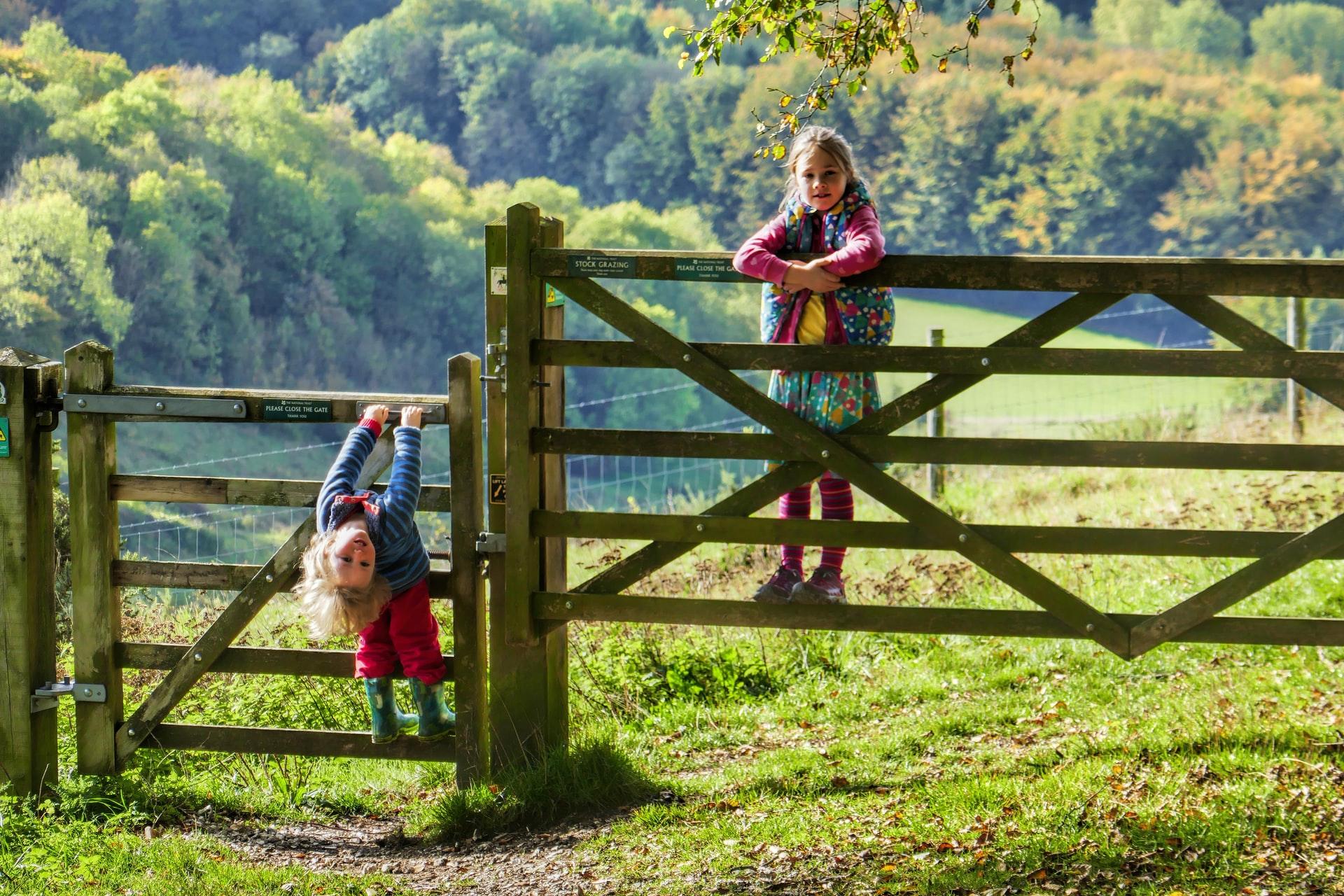 children exploring dorset countryside